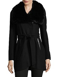 French Connection Faux Fur Collar Belted Coat Black