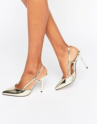 True Decadence Metallic Slingback Point Heeled Shoes Gold Metallic