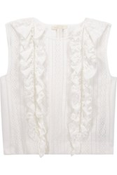 Maje Ruffled Paneled Open Knit And Cady Top White