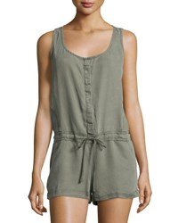 On The Road Vieja Button Front Drawstring Romper Mesa