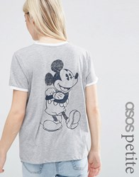 Asos Petite T Shirt With Mickey Mouse Print And Tipping White