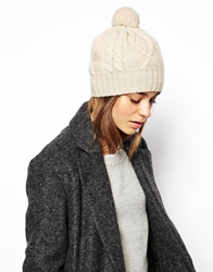 Johnstons Asymmetric Aran Cable Beanie Hat Cream