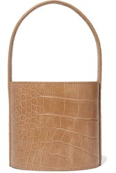 Staud Bissett Mini Croc Effect Leather Bucket Bag Camel
