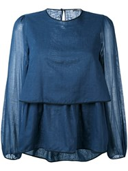 Odeeh Layered Blouse Women Cotton 40 Blue