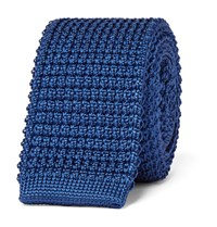 Lanvin 5Cm Knitted Silk Tie Blue