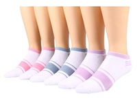 Ecco Socks No Show W Stripe 6 Pack Pink Light Black Purple Women's Crew Cut Socks Shoes White
