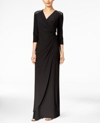 R And M Richards Petite Beaded Surplice Gown Black