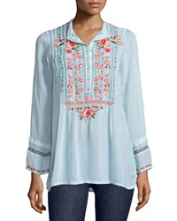 Johnny Was Catra Embroidered Tunic Cobalt