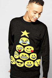 Boohoo Emoji Tree Christmas Jumper Black