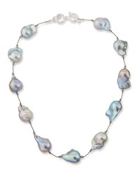 Margo Morrison Baroque Pearl And Crystal Necklace Gray