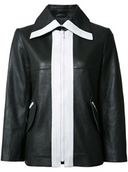 Carven Contrast Leather Jacket Black