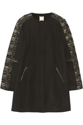 Rebecca Taylor Wool Blend And Boucle Coat Black