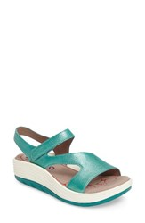Bionica Women's Cybele Platform Sandal Turquoise Leather