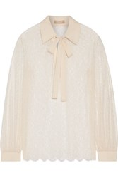 Michael Kors Collection Crepe Trimmed Chantilly Lace Blouse Cream