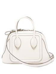Alexander Mcqueen Pinter Panelled Leather Bowling Bag White