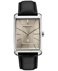 Kenneth Cole New York Men's Black Leather Strap Watch 31X48mm 10030832 Silver