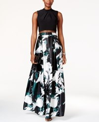 Betsy And Adam Printed Illusion Popover Gown Black White Green