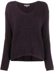N.Peal Boxy V Neck Jumper Purple