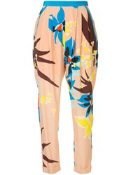 Delpozo Floral Print Trousers Pink And Purple