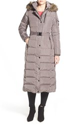 Women's Michael Michael Kors Faux Fur Trim Long Down And Feather Fill Coat