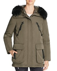 Derek Lam 10 Crosby Fur Trim Mixed Media Down Parka Loden