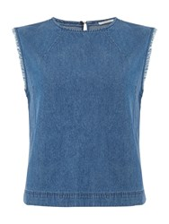 Sleeveless Woven Blouse In Washed Blue Denim Mid Wash