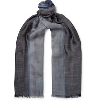 Loro Piana Fringed Colour Block Silk And Linen Blend Scarf Blue