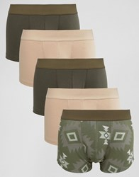 Asos Trunks With Aztec Print 5 Pack Save Khaki Green