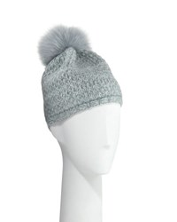 Portolano Cashmere Knit Beanie W Fur Pompom Light Blue