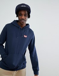 Brixton Stith Hoodie With Small Logo In Navy Navy