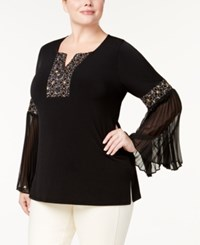 Jm Collection Plus Size Embellished Bell Sleeve Top Created For Macy's Deep Black