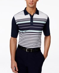 Greg Norman For Tasso Elba Men's Colorblocked Striped Performance Polo Only At Macy's
