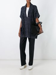 Fay Cable Knit Short Sleeve Cardi Coat Blue