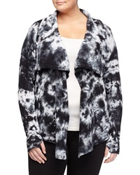 Marc Ny Performance Tie Dye Draped Open Front Cardigan Black