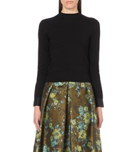 Karen Millen Satin Detail Turtleneck Jumper Black