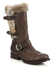 Frye Jamie Lux Moto Rabbit Fur Trimmed Leather Mid Calf Boots Brown