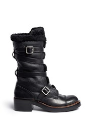 Coach 'Moto' Shearling Pebbled Leather Buckle Boots Black