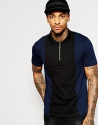 Asos Polo Shirt With Cut And Sew And Zip Neck Black