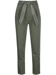 Sundry Tie Waist Paperbag Trousers Green
