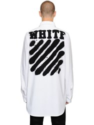Off White Spray Stripes Cotton Denim Shirt