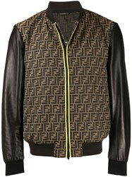 Fendi Monogram Bomber Jacket Brown