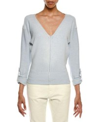 Tom Ford V Neck Tab Sleeve Knit Sweater Blue
