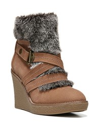 Fergie Omega Faux Fur Trimmed Wedge Booties Tan
