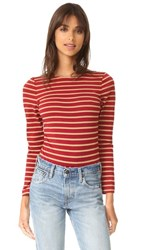 Laveer Striped Long Sleeve Scoop Bodysuit Camel Red