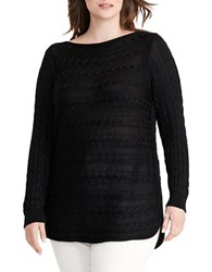 Lauren Ralph Lauren Plus Cable Knit Cotton Sweater Black