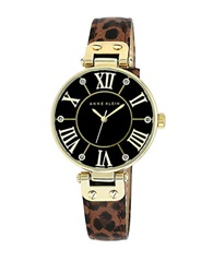 Anne Klein Ladies Goldtone Watch With Leopard Print Strap
