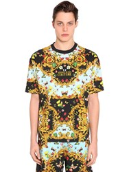 Versace Oversized Printed Cotton Jersey T Shirt Black