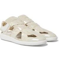 Maison Martin Margiela Replica Cutout Pvc Trimmed Suede Slip On Sneakers Off White