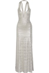 Herve Leger Madeleine Cutout Metallic Pointelle Knit Bandage Gown Silver