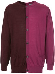 Lanvin Two Tone Cardigan Red